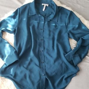 Laundry by Shelli Segal teal blue button down top